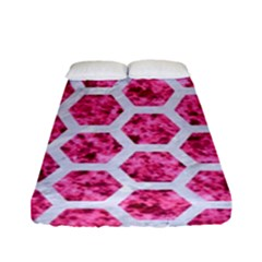 Hexagon2 White Marble & Pink Marble Fitted Sheet (full/ Double Size) by trendistuff