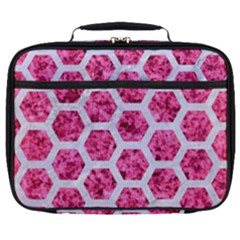 Hexagon2 White Marble & Pink Marble Full Print Lunch Bag by trendistuff