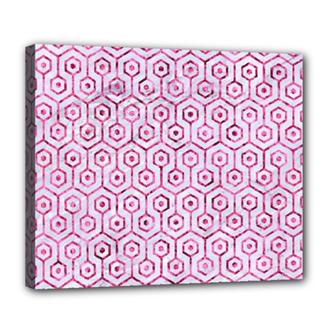 Hexagon1 White Marble & Pink Marble (r) Deluxe Canvas 24  X 20   by trendistuff