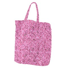 Hexagon1 White Marble & Pink Marble Giant Grocery Zipper Tote