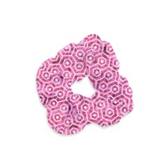 Hexagon1 White Marble & Pink Marble Velvet Scrunchie