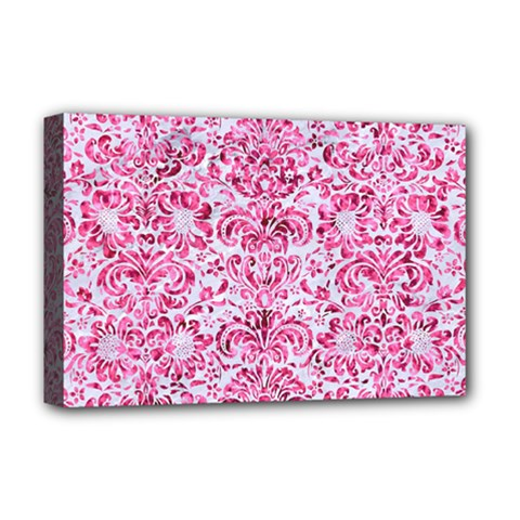 Damask2 White Marble & Pink Marble (r) Deluxe Canvas 18  X 12   by trendistuff