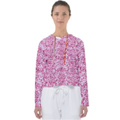 Damask2 White Marble & Pink Marble (r) Women s Slouchy Sweat