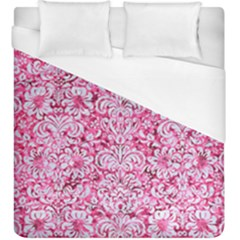 Damask2 White Marble & Pink Marble Duvet Cover (king Size) by trendistuff