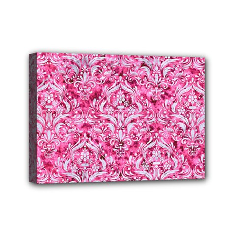 Damask1 White Marble & Pink Marble Mini Canvas 7  X 5  by trendistuff