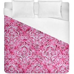Damask1 White Marble & Pink Marble Duvet Cover (king Size) by trendistuff