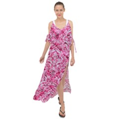 Damask1 White Marble & Pink Marble Maxi Chiffon Cover Up Dress