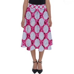 Circles2 White Marble & Pink Marble Perfect Length Midi Skirt