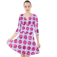 Circles1 White Marble & Pink Marble (r) Quarter Sleeve Front Wrap Dress