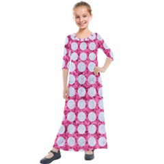 Circles1 White Marble & Pink Marble Kids  Quarter Sleeve Maxi Dress by trendistuff