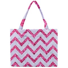 Chevron9 White Marble & Pink Marble (r) Mini Tote Bag