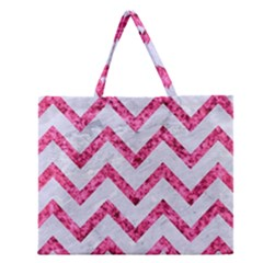 Chevron9 White Marble & Pink Marble (r) Zipper Large Tote Bag by trendistuff