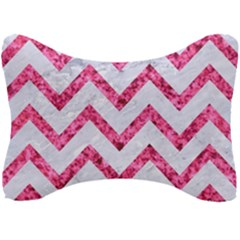 Chevron9 White Marble & Pink Marble (r) Seat Head Rest Cushion by trendistuff