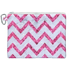 Chevron9 White Marble & Pink Marble (r) Canvas Cosmetic Bag (xxl) by trendistuff