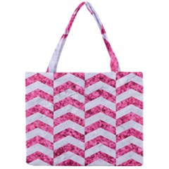 Chevron2 White Marble & Pink Marble Mini Tote Bag by trendistuff
