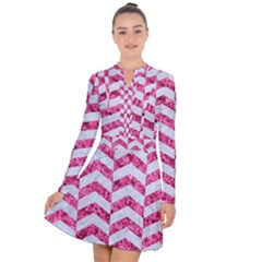 Chevron2 White Marble & Pink Marble Long Sleeve Panel Dress