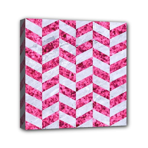 Chevron1 White Marble & Pink Marble Mini Canvas 6  X 6  by trendistuff