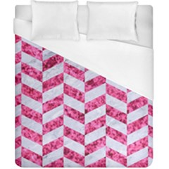 Chevron1 White Marble & Pink Marble Duvet Cover (california King Size) by trendistuff