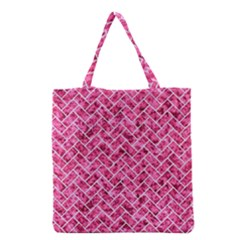 Brick2 White Marble & Pink Marble Grocery Tote Bag by trendistuff