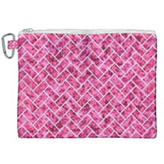 Brick2 White Marble & Pink Marble Canvas Cosmetic Bag (xxl) by trendistuff