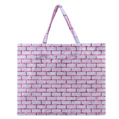 Brick1 White Marble & Pink Marble (r) Zipper Large Tote Bag by trendistuff