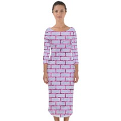 Brick1 White Marble & Pink Marble (r) Quarter Sleeve Midi Bodycon Dress by trendistuff