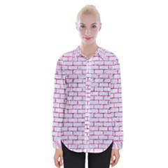 Brick1 White Marble & Pink Marble (r) Womens Long Sleeve Shirt by trendistuff