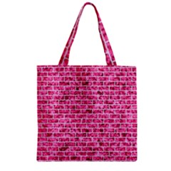 Brick1 White Marble & Pink Marble Zipper Grocery Tote Bag by trendistuff