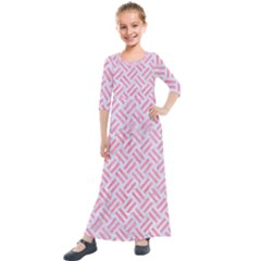 Woven2 White Marble & Pink Watercolor (r) Kids  Quarter Sleeve Maxi Dress