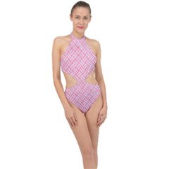 Woven2 White Marble & Pink Watercolor Halter Side Cut Swimsuit