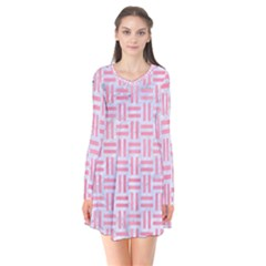 Woven1 White Marble & Pink Watercolor (r) Long Sleeve V Neck Flare Dress