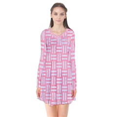 Woven1 White Marble & Pink Watercolor Long Sleeve V Neck Flare Dress