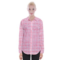 Woven1 White Marble & Pink Watercolor Womens Long Sleeve Shirt by trendistuff