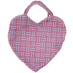 Woven1 White Marble & Pink Watercolor Giant Heart Shaped Tote by trendistuff