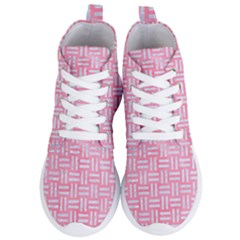 Woven1 White Marble & Pink Watercolor Women s Lightweight High Top Sneakers