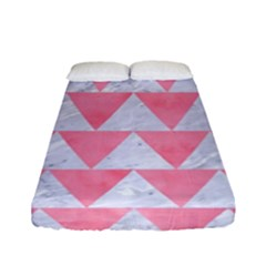 Triangle2 White Marble & Pink Watercolor Fitted Sheet (full/ Double Size)