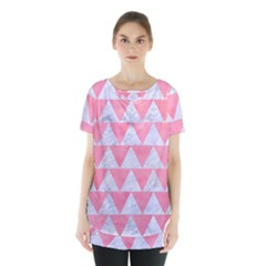 Triangle2 White Marble & Pink Watercolor Skirt Hem Sports Top by trendistuff