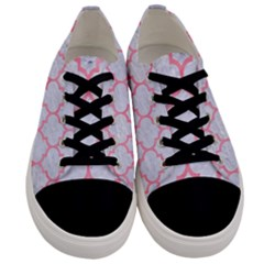 Tile1 White Marble & Pink Watercolor (r) Men s Low Top Canvas Sneakers