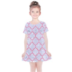 Tile1 White Marble & Pink Watercolor (r) Kids  Simple Cotton Dress