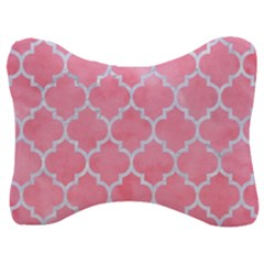 Tile1 White Marble & Pink Watercolor Velour Seat Head Rest Cushion by trendistuff