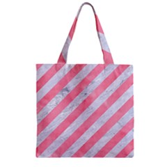 Stripes3 White Marble & Pink Watercolor (r) Zipper Grocery Tote Bag by trendistuff