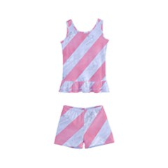 Stripes3 White Marble & Pink Watercolor (r) Kid s Boyleg Swimsuit