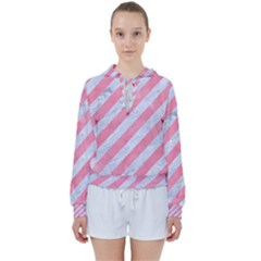 Stripes3 White Marble & Pink Watercolor (r) Women s Tie Up Sweat