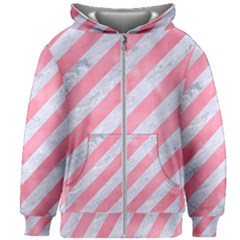 Stripes3 White Marble & Pink Watercolor (r) Kids Zipper Hoodie Without Drawstring