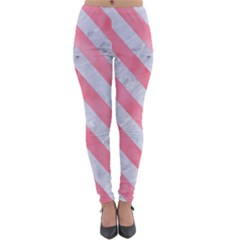 Stripes3 White Marble & Pink Watercolor Lightweight Velour Leggings by trendistuff
