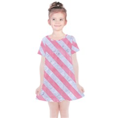 Stripes3 White Marble & Pink Watercolor Kids  Simple Cotton Dress by trendistuff