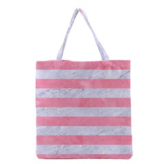 Stripes2white Marble & Pink Watercolor Grocery Tote Bag by trendistuff