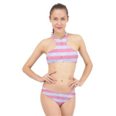 Stripes2white Marble & Pink Watercolor High Neck Bikini Set