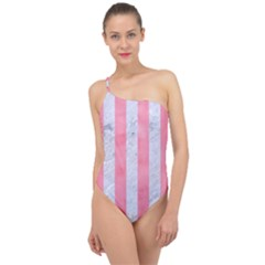 Stripes1 White Marble & Pink Watercolor Classic One Shoulder Swimsuit