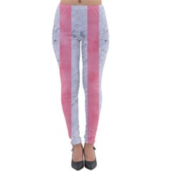 Stripes1 White Marble & Pink Watercolor Lightweight Velour Leggings